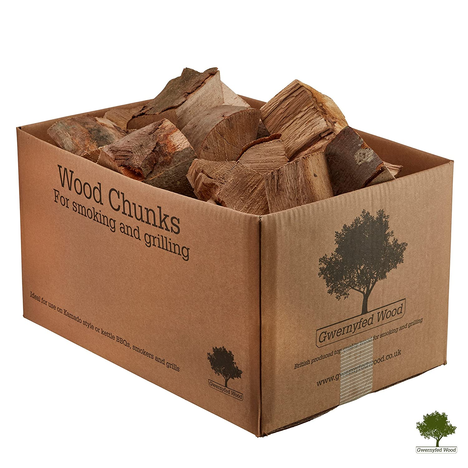 Wood Chunks for Smoking Food - Kiln Dried Wood - Small Chunks for Smoking Food on BBQ's/Barbeques. Large 9KG / 25 Litre Box - Fast Delivery (Alder) Gwernyfed Wood