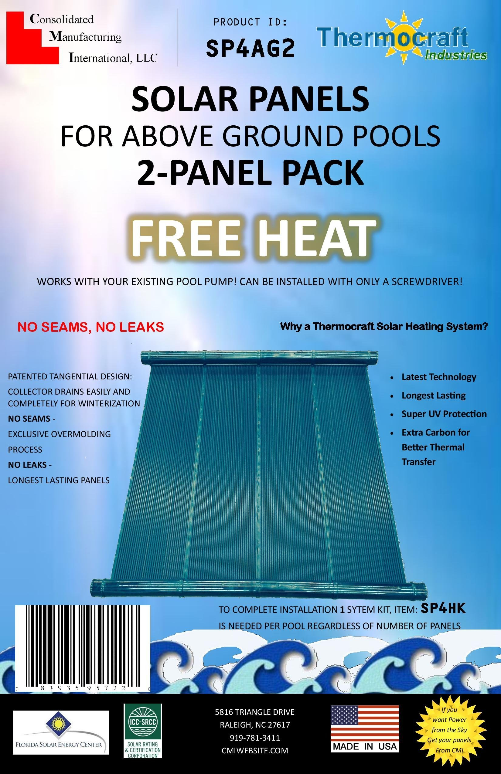 Thermocraft Solar Panels for Above Ground Pools, 2 Panel Pack