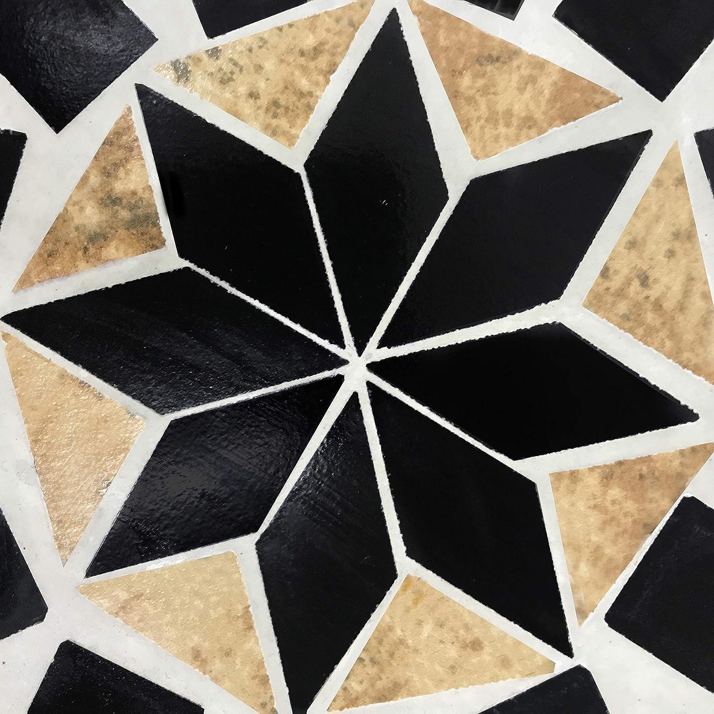 Balkontisch Bistrotisch quadratisch Jago Mosaiktisch Mosaikm/öbel f/ür Terasse Creme-Schwarz-Wei/ß Gartentisch Beistelltisch Bistroset Balkonset 60x60cm Stahl