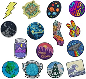 The Carefree Bee - Large Assorted Set of 15 Aesthetic and Cool Outdoors Iron On Patches for Jackets Backpacks Jeans and Clothes | Each Embroidered Patch is Durable and Sticks to All Fabrics (Set 2)