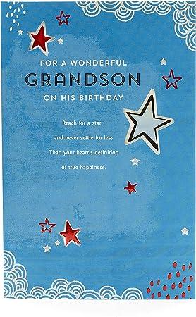 Amazon Com Grandson Birthday Card Birthday Card For Grandson Adult Birthday Card For Him Cut Out Metallic Star Design Office Products