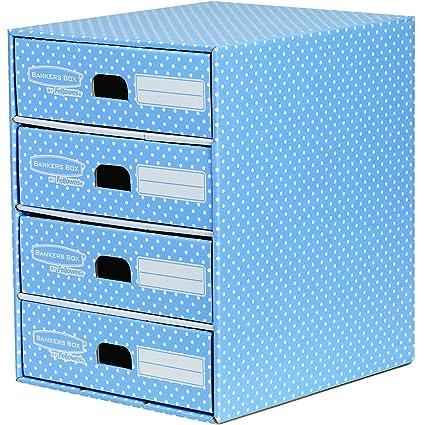 azul y blanco Bankers Box Style M/ódulo con 4 cajones
