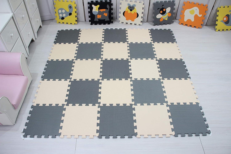 30*30*1cm Beige.QQC-ABJb18N qqpp Alfombra Puzzle para Ni/ños Bebe Infantil Blanco Suelo de Goma EVA Suave Naranja 18 Piezas
