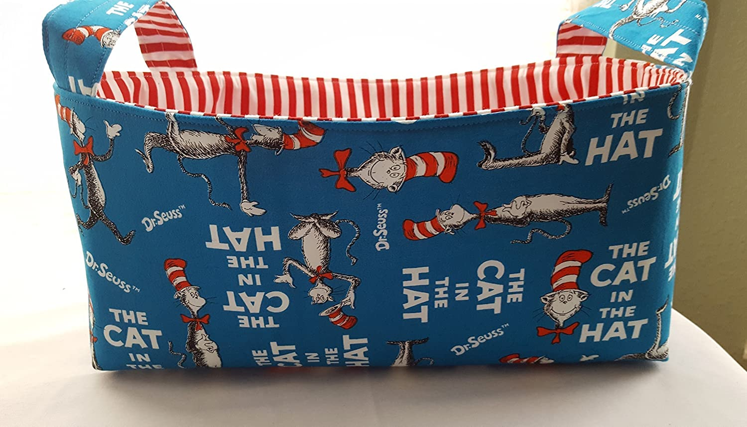 Long Diaper Caddy Storage Container Basket Fabric Organizer Bin - Nursery Decor - Dr Seuss The Cat In the Hat