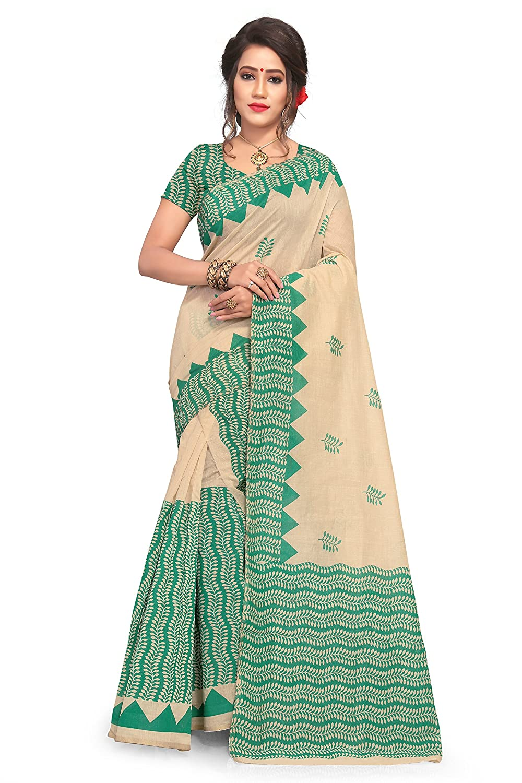 S Kiran's Women's Assamese Khadi Cotton Printed Mekhela Chador Saree (Green, Free Size)