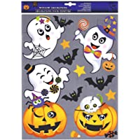 Halloween Window Clings - Ghosts, Bats and Pumpkins with Glitter Accents