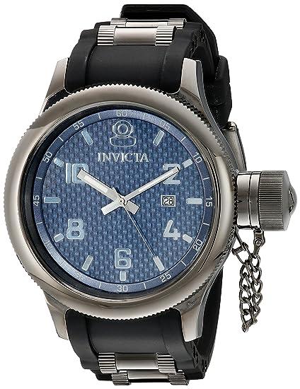 Invicta 554 - Reloj analógico de cuarzo para hombre con correa de caucho, color negro: Amazon.es: Relojes