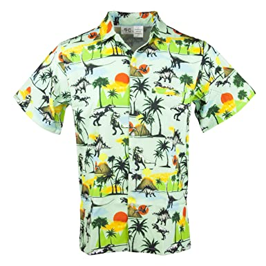8b20ad38 Funny Guy Mugs Mens Dinosaur Hawaiian Print Button Down Short Sleeve Shirt,  Small