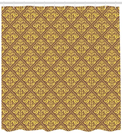 Lunarable Yellow And Brown Shower Curtain Oriental Ornament In The Style Of Baroque Royal Renaissance