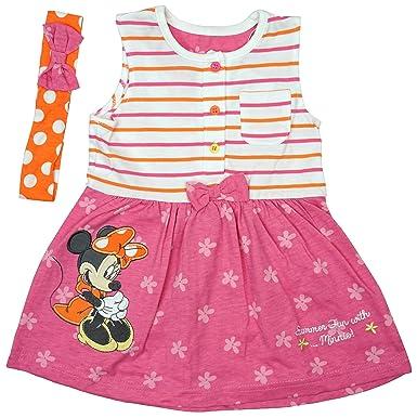 af511eb8a00bc4 Disney Mädchen Baby Minnie Maus Sommerspass Kleid & Stirnband größen von  Neugeborene bis 24 Monate -