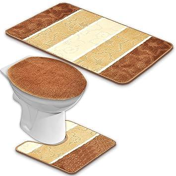 Wunderbar BADGARNITUR ORION 3 TEILIG BADMATTE, BAD SET BRAUN BEIGE STAND WC