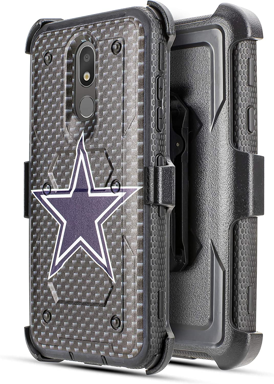 for LG Aristo 4+ Plus/Prime 2/ Escape Plus/LG K30 (2019)/Arena 2/ Journey LTE Full Body Armor Rugged Holster Hybrid Tough Case 360 Belt Clip Kickstand & Built in Screen Protector (Cowboy)