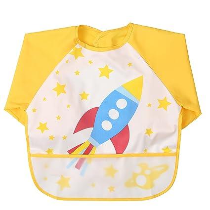 Babylaza de manga larga Babero, baberos bebe,lavable, resistente al agua y para