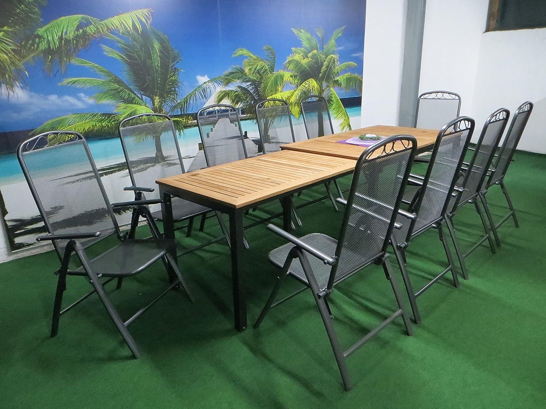11-teilige Luxus Aluminium Teak Streckmetall Gartenmöbelgruppe Bukatchi RRR , Klappsessel und Ausziehtisch Tifosi 160/280x90 anthrazit, P17