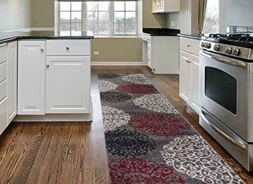 Contemporary Modern Floral Indoor Soft Runner Area Rug 2 x 7 2 Red