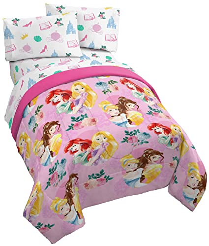 6adfbcefe632 Jay Franco Disney Princess Sassy Twin Comforter - Super Soft Kids  Reversible Bedding Features Belle