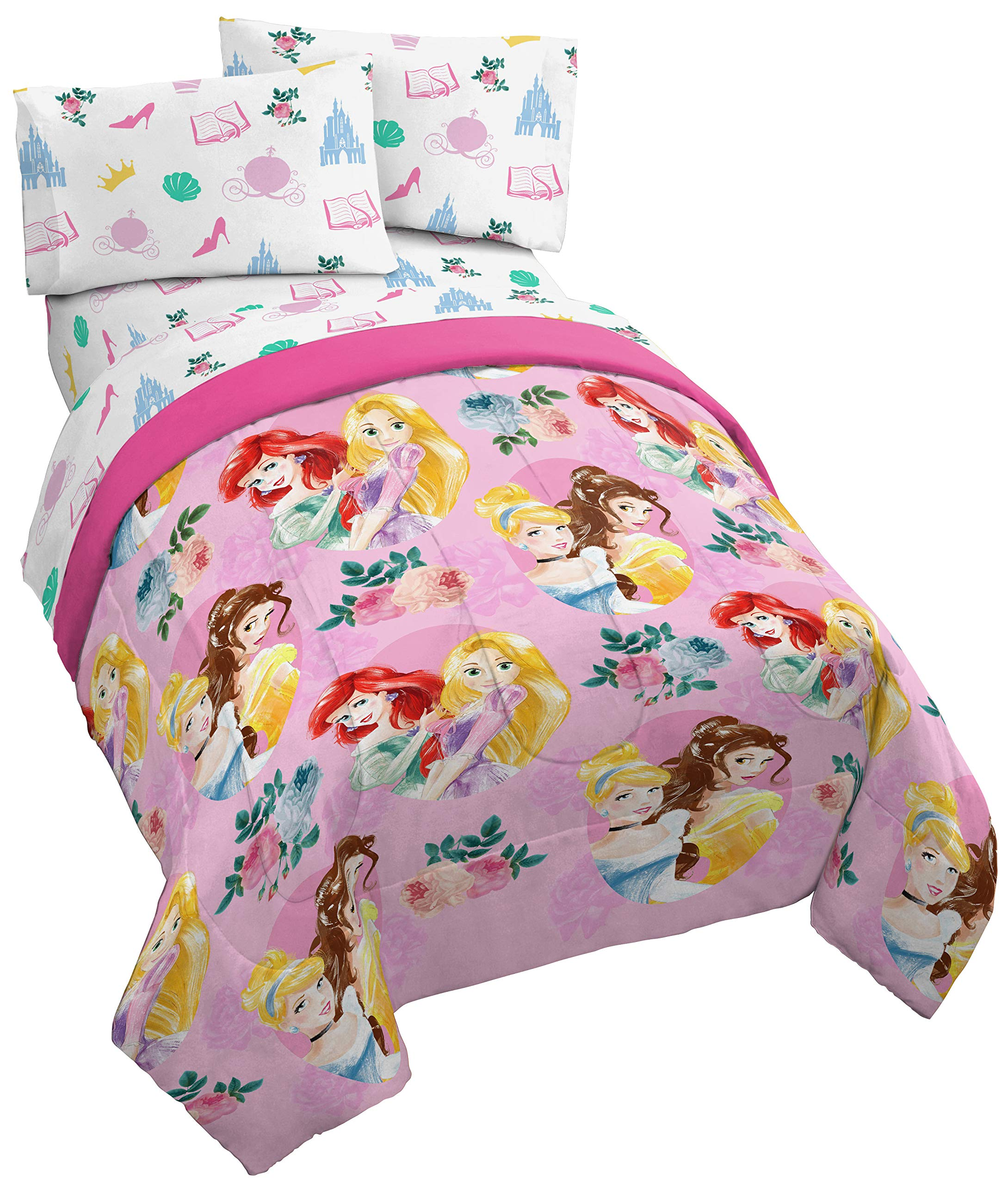Jay Franco Disney Princess Sassy Full Comforter - Super Soft Kids Reversible Bedding Features Cinderella & Rapunzel - Fade Resistant Polyester Microfiber Fill (Official Disney Product)