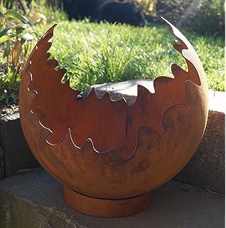 Edelrost Feuerschale Rost Pflanzschale 80cm mit Ständer Gartendeko Metall deko