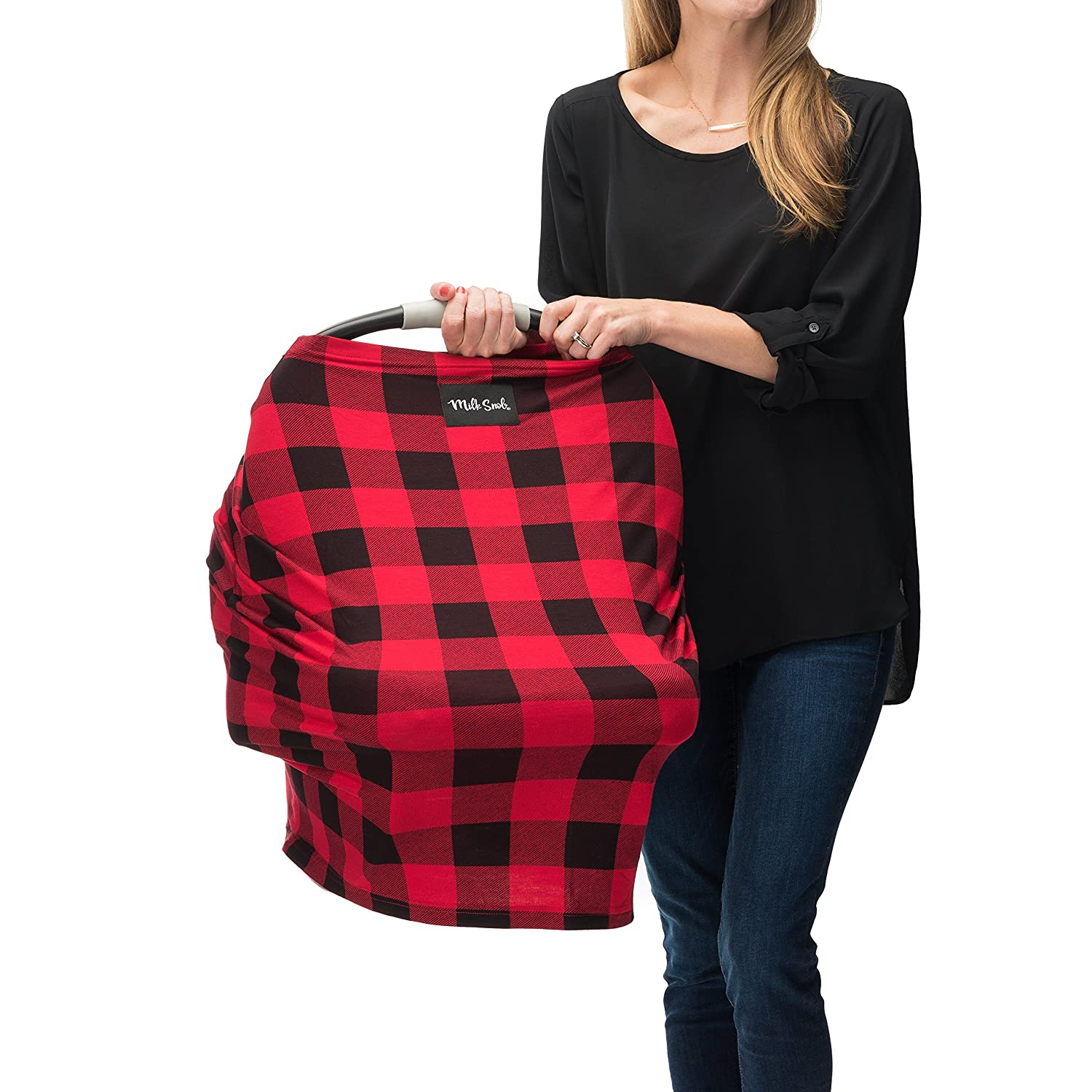 AS SEEN ON SHARK TANK The Original Milk Snob Infant Car Seat Cover and Nursing Cover Multi-Use 360° Coverage Breathable Stretchy - Lumberjack