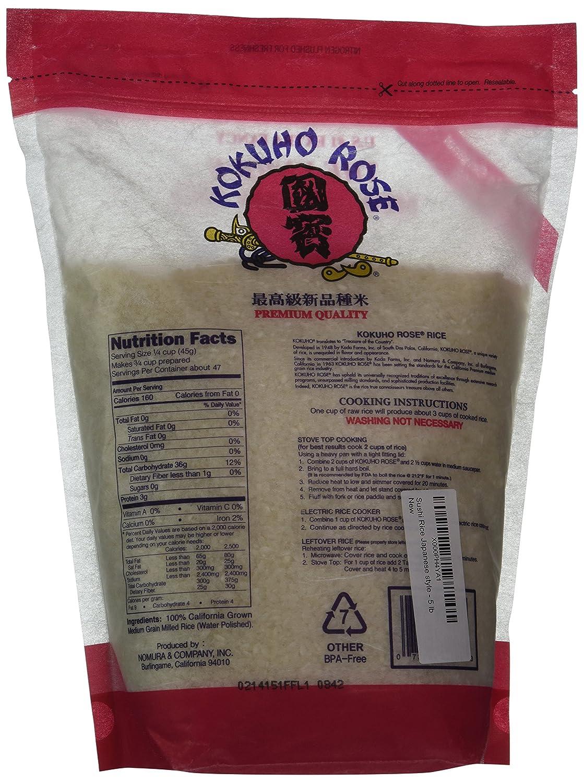 Amazon : Kokuho Rice Sushi, 5 Lb : Dried White Rice : Grocery & Gourmet  Food