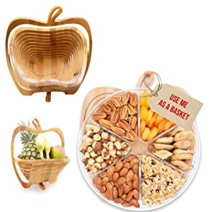 Nuts-Fruit Gift Turn Into Fruit Basket, Healthy Fresh Gift Idea For Christmas, Birthday, Thanksgiving, Fathers Day, Mothers Day(6 Fruit)