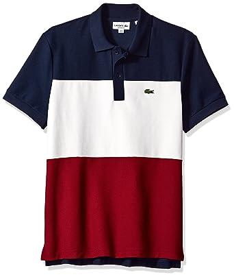dbf833c71134d Amazon.com  Lacoste Men s Short Sleeve Noppe Pique Striped Color Block Polo
