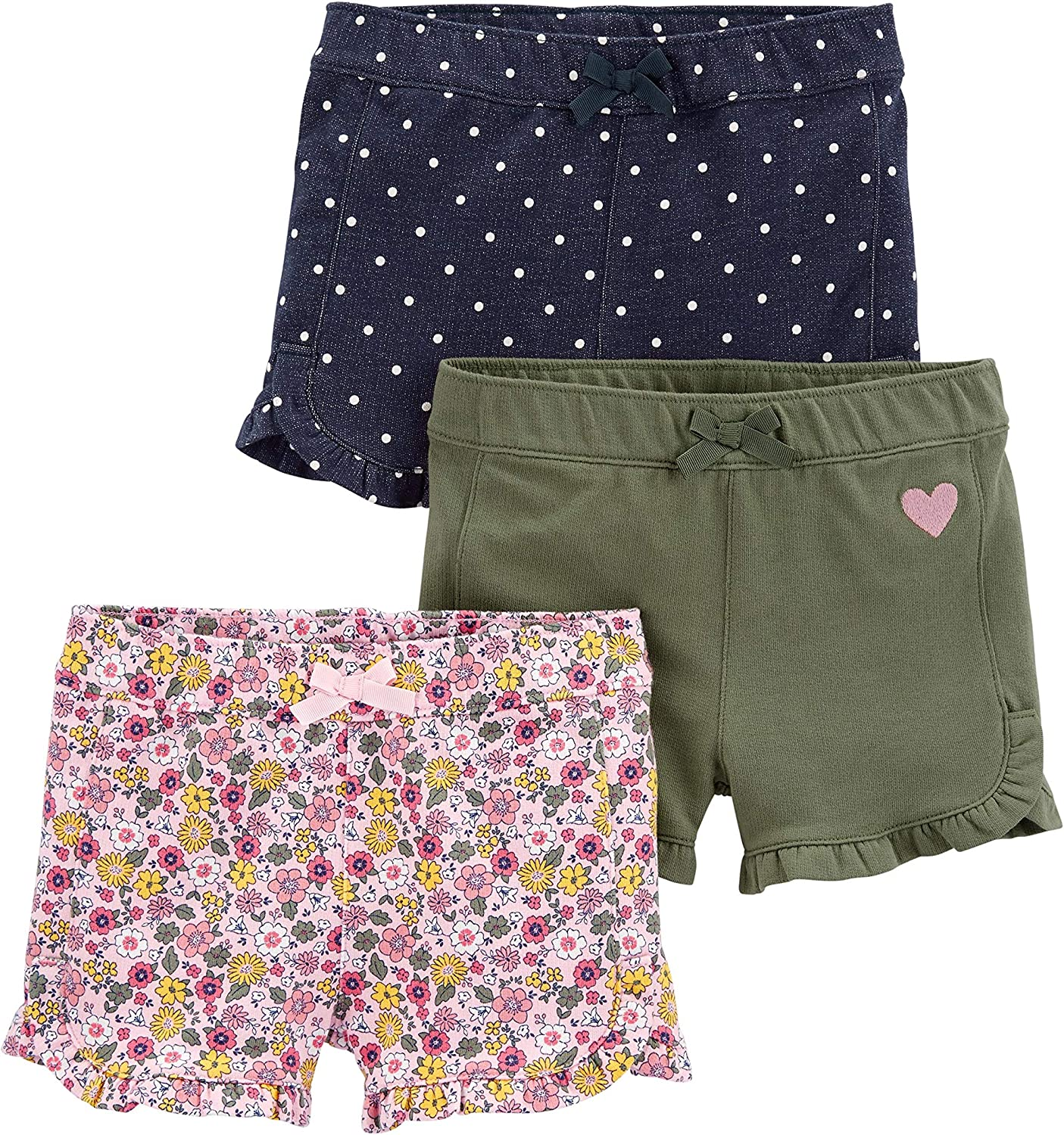 Amazon.com: Simple Joys by Carter's Baby and Toddler Girls' 3-Pack Knit  Shorts: Clothing