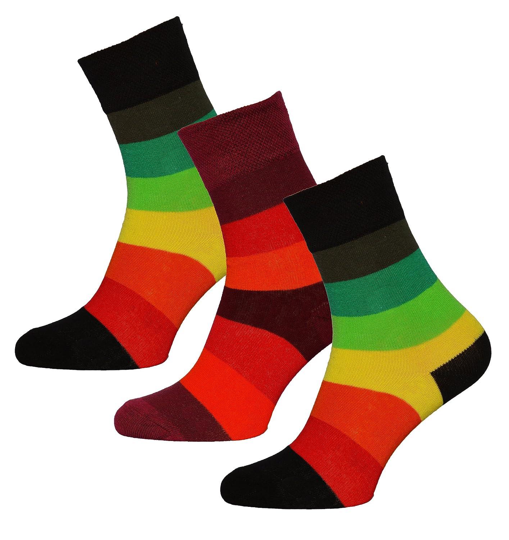 3 Paar Damen Neonsocken,Socken geringelt , Neoringel, Größen 35 - 38 oder 39 - 42
