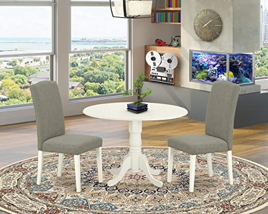 Amazon Com East West Furniture 3pc Round 42 Inch Kitchen Table With Two 9 Inch Drop Leaves And A Pair Of Parson Chair White Leg And Linen Fabric Dark Shitake 3 Furniture Decor