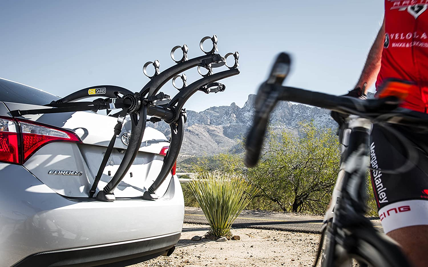 Trunk mounted car bike rack