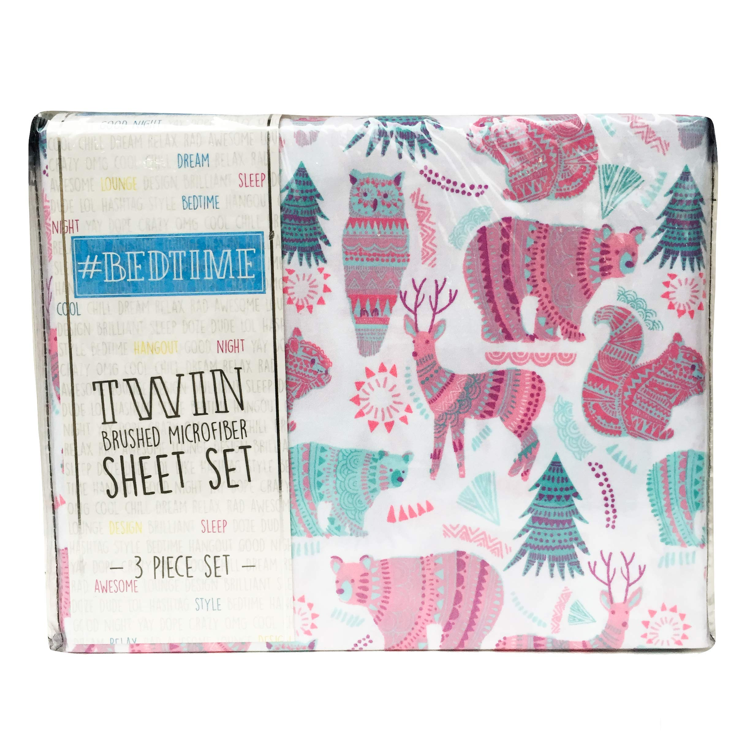 Bed time Woodland Creatures Multi Color Twin Sheet Set - Bear, Owl, Deer Sheets (Forest Animals) by Bed time (Image #1)