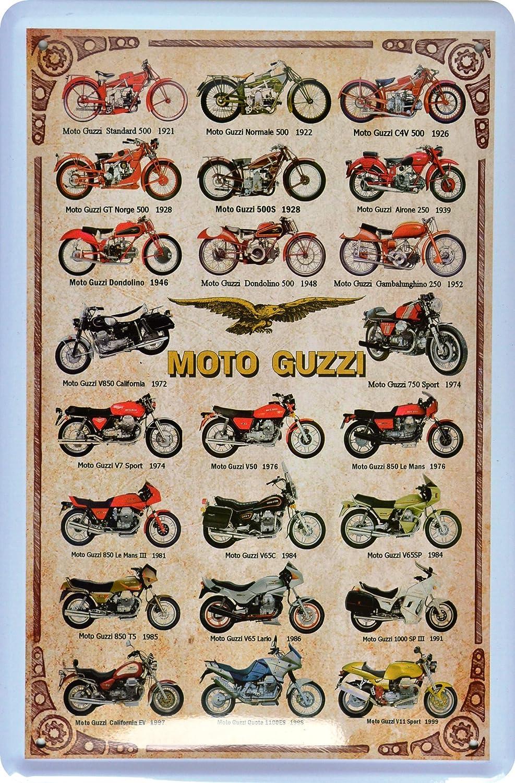Targa in metallo Moto Guzzi modello uebersicht 20x 30cm reklame Retro Targa in meta Sign xzw81 ComCard