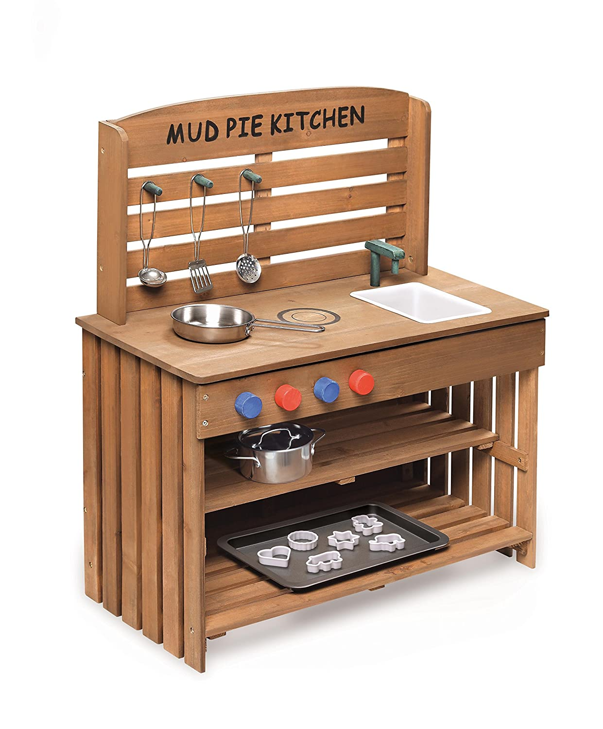 Perfect Amazon.com: Badger Basket Outdoor Chef Mud Pie Kitchen With Cooking  Accessories, Natural: Toys U0026 Games