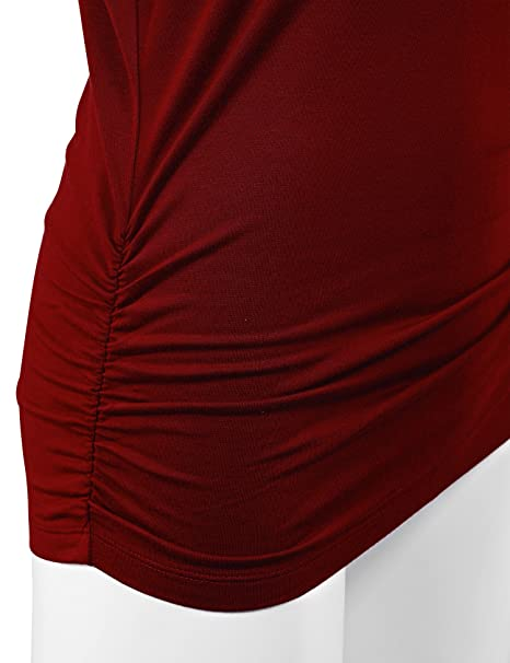 Women's Crew/V Neck 3/4 Sleeve Drape Dolman Shirt Top with Side Shirring