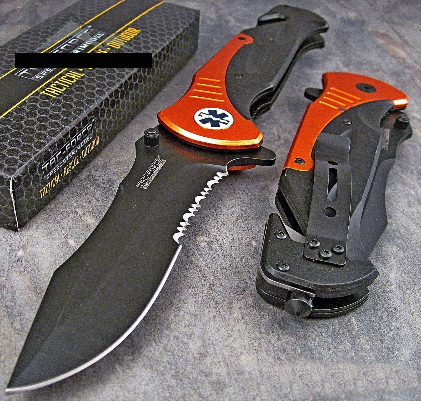 Tac-force Extra Large 10.5'' Orange Emt Folder Blade Tactical Rescue Pocket Knife by TAC Force