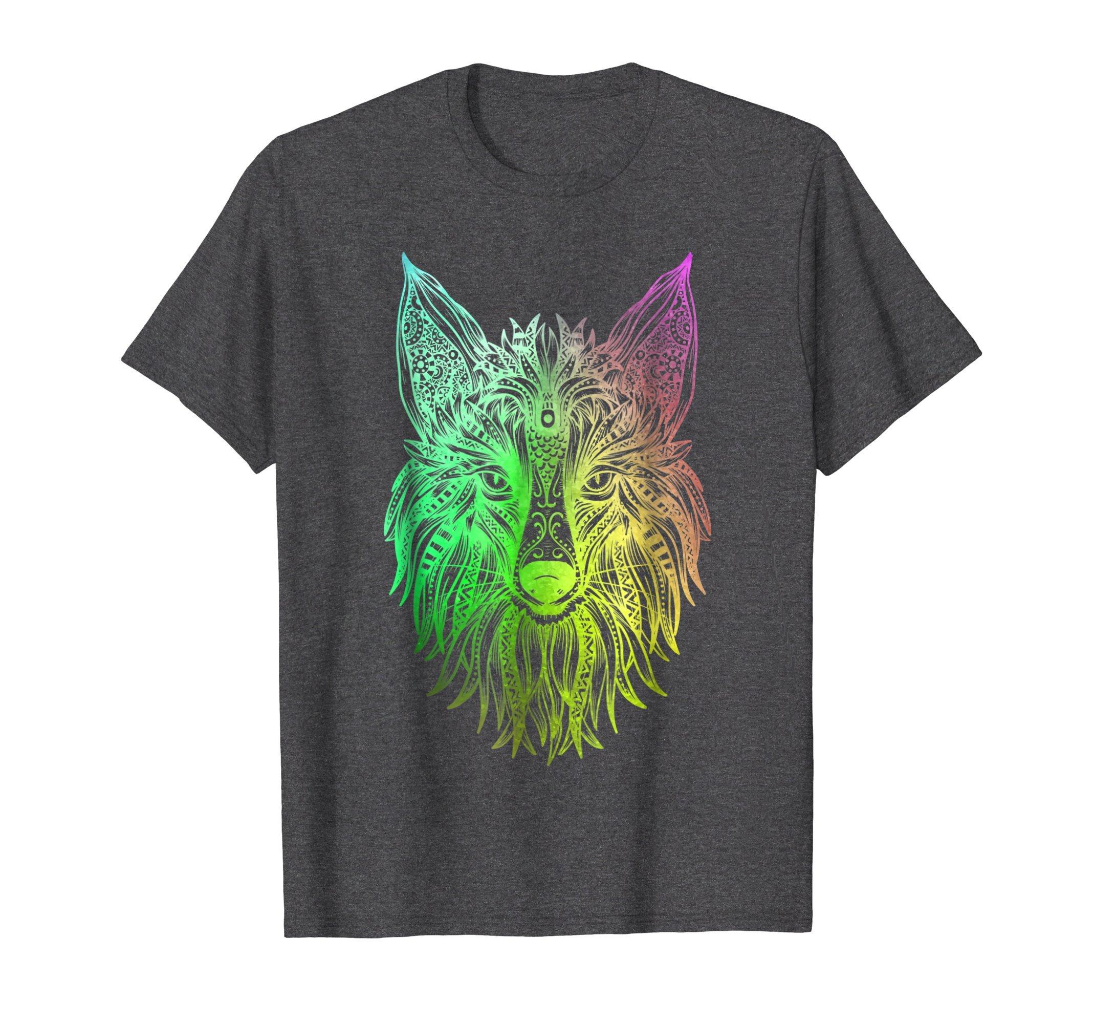 Mens Fox Hindu Tribal Watercolor Graphic T-shirt Gift Men Women Large Dark Heather