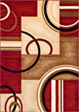 """Well Woven Barclay Arcs & Shapes Red Modern Geometric Area Rug 7'10"""" X 9'10"""""""