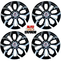 Hotwheelz Sporty Dual Color Silver Black 13-inch Wheel Cover with Rings(Set of 4pc, Glossy Silver Black)