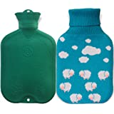 UFEELGOOD Classic Hot Water Bottle, Premium Natural Medical Grade Rubber Bag with Knitted Cover - 2L Clouds