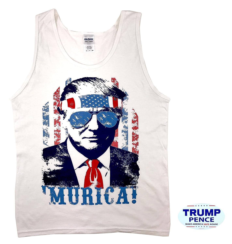 how-z-it Donald Trump Murica Tank Top Shirt with Free Bumper Sticker