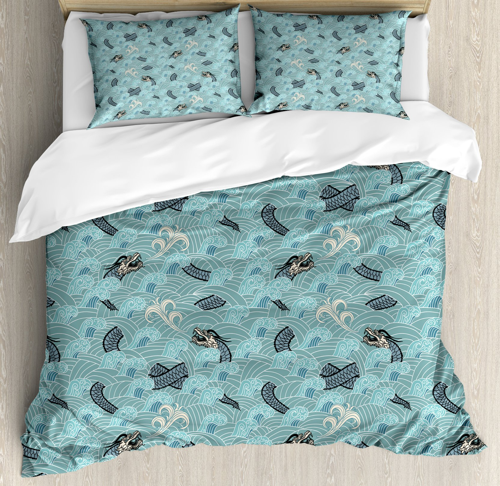 Japanese Wave Duvet Cover Set Queen Size by Ambesonne, Asian Style Pattern with Dragon Figures and Sea Waves Mythology Monster, Decorative 3 Piece Bedding Set with 2 Pillow Shams, Teal Grey White