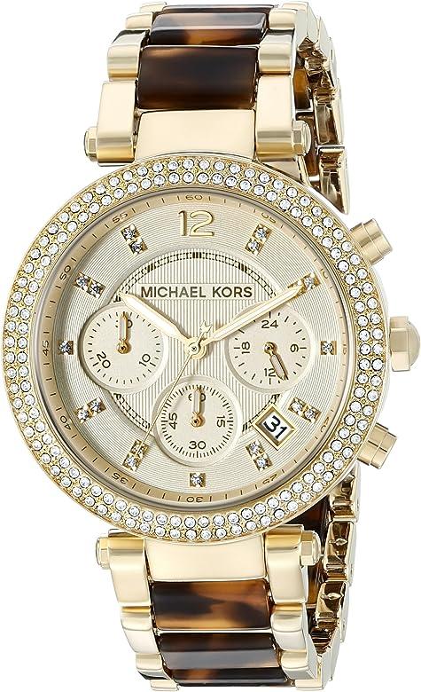 amazon best website best selling Women's Parker Gold Tortoise Watch MK5688
