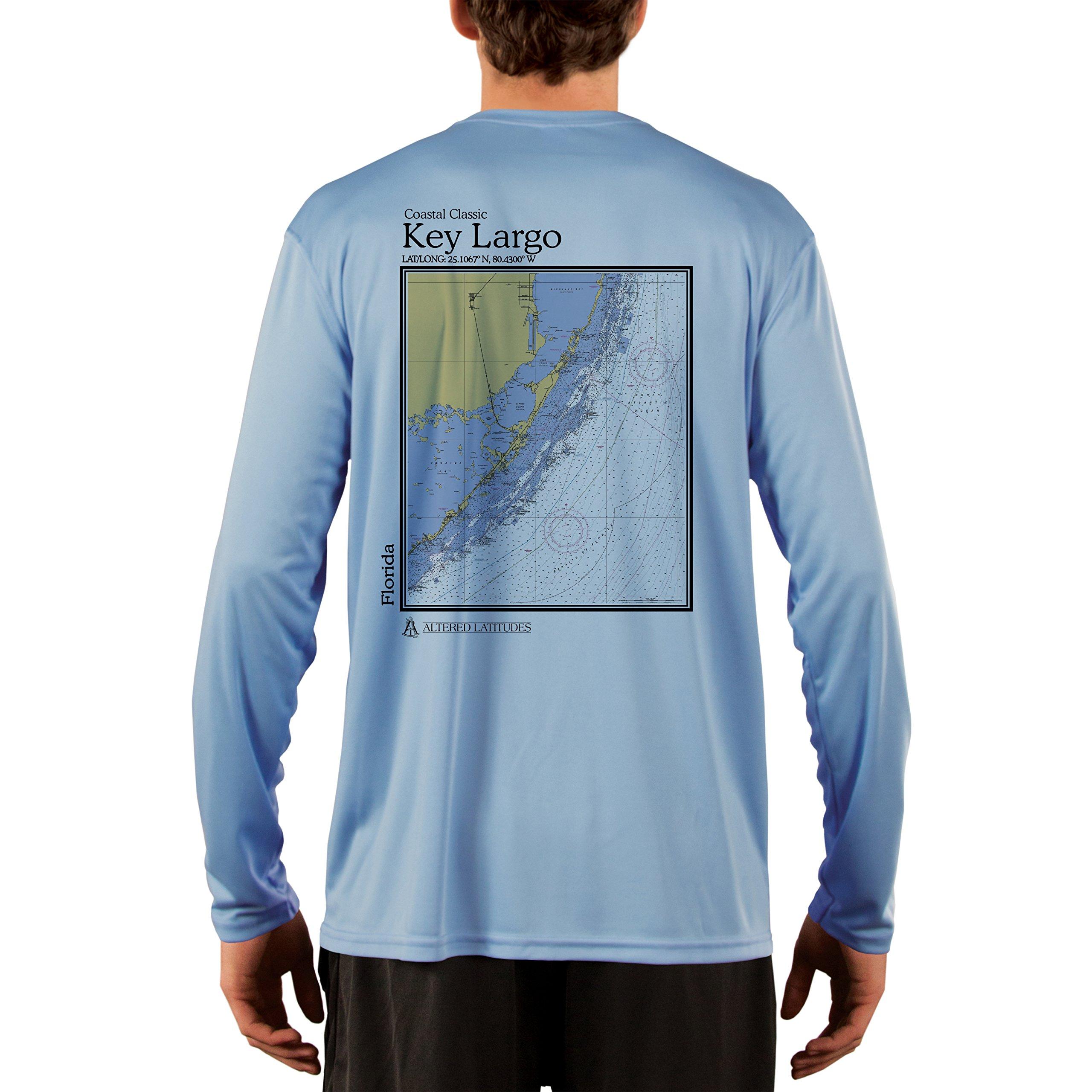 Coastal Classics Key Largo Chart Men's UPF 50+ Long Sleeve T-Shirt Medium Columbia Blue by Altered Latitudes