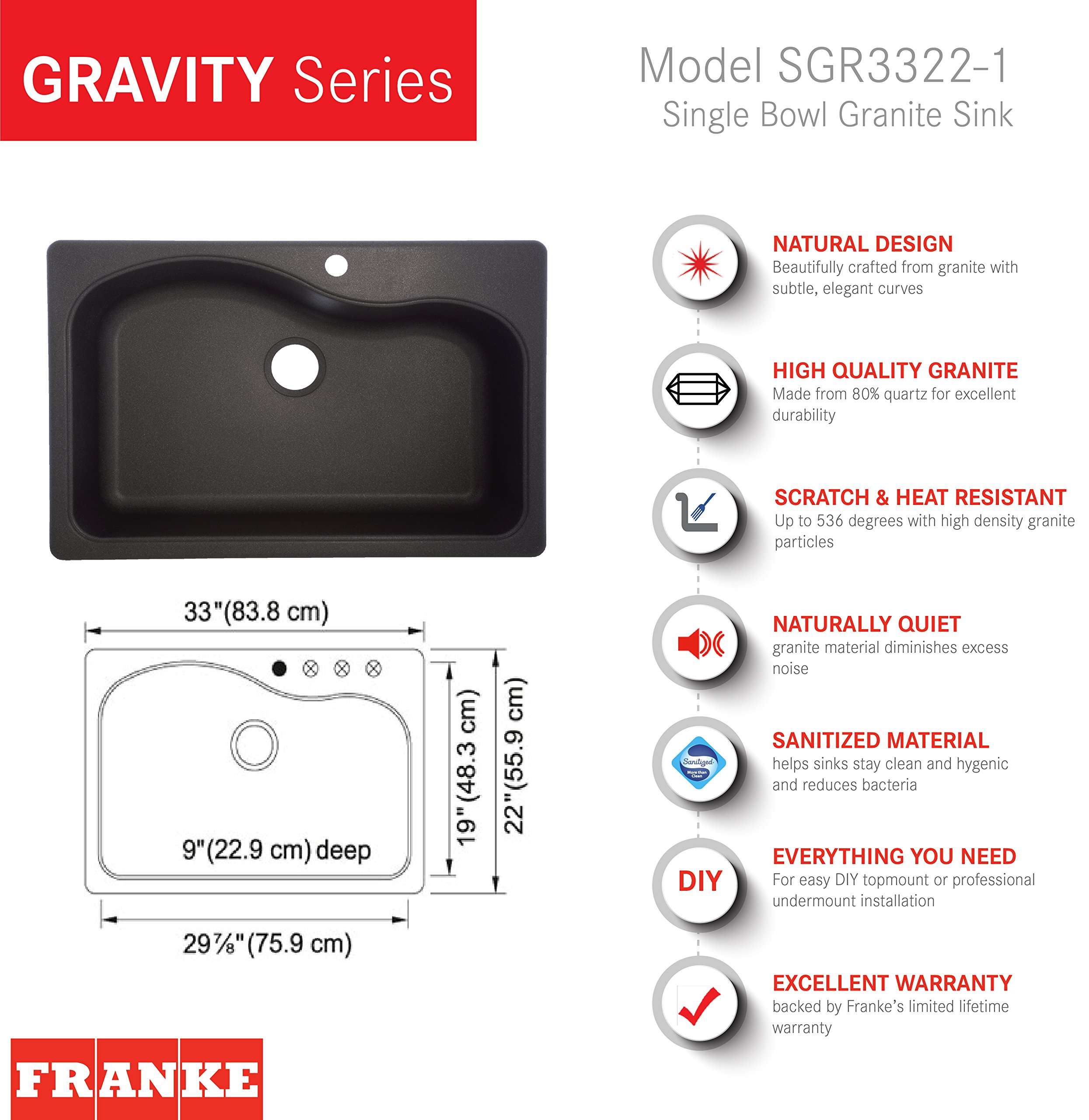 Franke Gravity 33-Inch Wide x 9-Inch Deep Dual Mount Granite Single Bowl Kitchen Sink in Graphite, SGR3322-1