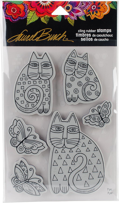 Stampendous Laurel Burch Rubber Stamp Zigzag Cats