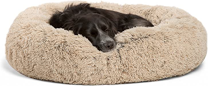 """Best Friends by Sheri DNT-SHG-TAU-3030-VP Luxury Shag Faux Fur Donut Cuddler (Multiple Sizes) – Donut Cat and Dog Bed, 30"""" x 30"""", Taupe"""