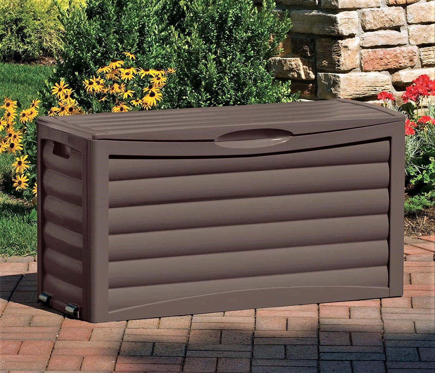 Large Pool Deck Box Storage Box with Handles and Rollers Portable Easy Assembly Outdoor Patio Yard Garden Multi Use Home Organizer & Free Ebook by Stock4All