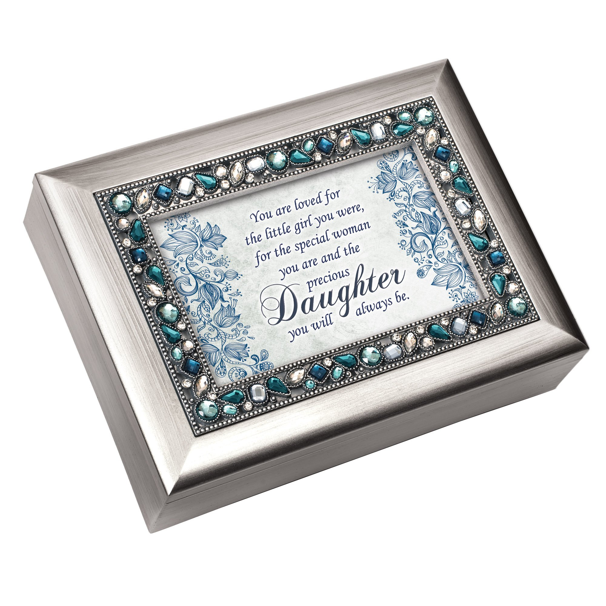 Special Woman Precious Daughter Jeweled Silver Colored Keepsake Music Box Plays You Light Up My Life by Cottage Garden (Image #1)