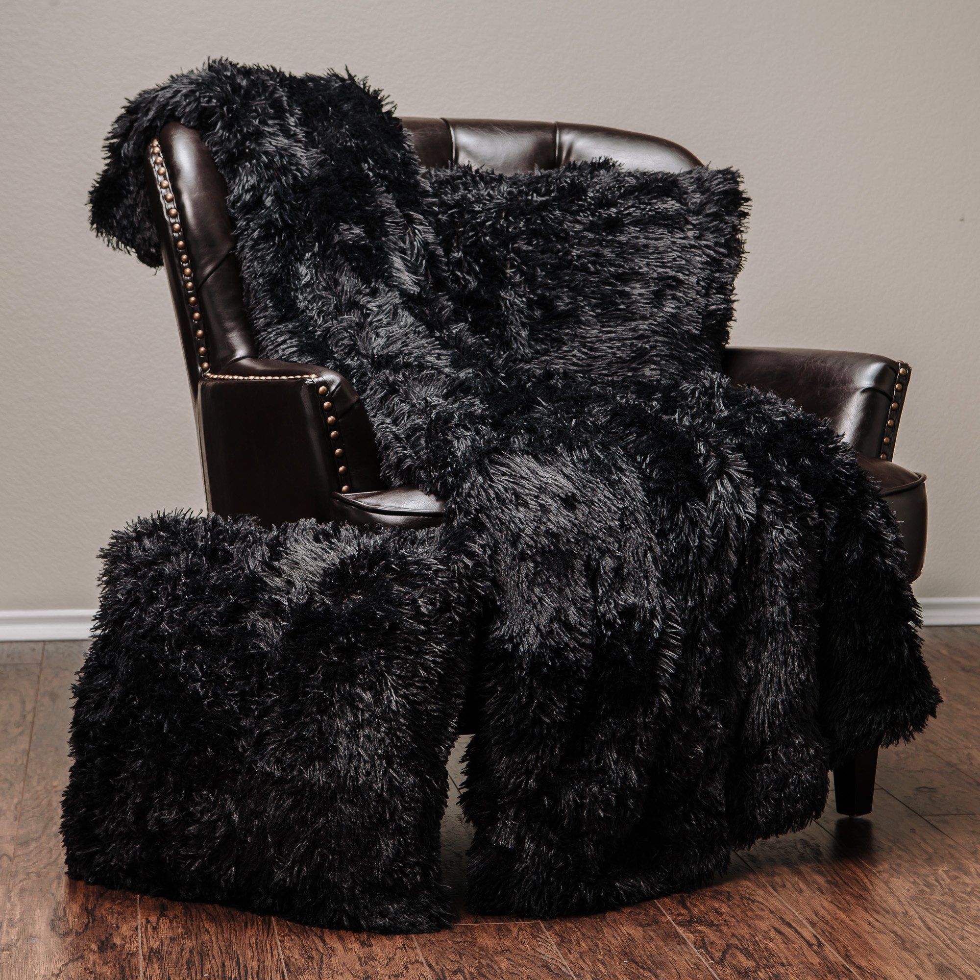 Chanasya 3-Piece Super Soft Shaggy Throw Blanket Pillow Cover Set - Chic Fuzzy Faux Fur Elegant Cozy Fleece Sherpa Throw (50''x65'')& Two Throw Pillow Covers (18''x 18'')- For Bed Couch Chair Sofa - Black