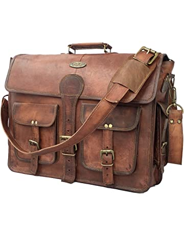 DHK 18 Inch Vintage Handmade Leather Messenger Bag for Laptop Briefcase  Best Computer Satchel School Distressed 48baefe4a4717